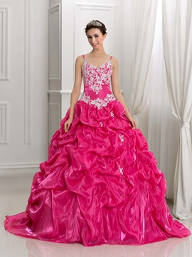 Spaghetti Straps Appliques Pick-Ups Ball Gown Quinceanera Dress & Ball Gown Dresses online