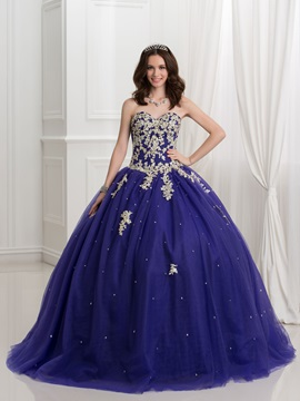 Glamorous Sweetheart Ball Gown Appliques Beaded Quinceanera Dress & petite Ball Gown Dresses