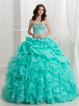 Crystal Beading Cascading Ruffles Ball Gown Quinceanera Dress