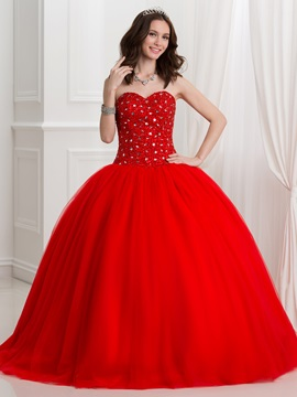 Fancy Sweetheart Sequins Beading Red Ball Gown Quinceanra Dress & discount Ball Gown Dresses