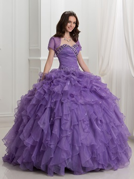 Beading Cascading Ruffles Ball Gown Quinceanera Dress with Jacket
