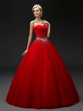 Super Sweetheart Beaded Ball Gown Lace-Up Red Quinceanera Dress & cheap Ball Gown Dresses
