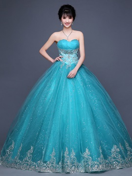 Vintage Sweetheart Appliques Beaded Lace-Up Ball Gown Dress & Ball Gown Dresses on sale