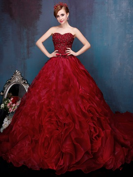 Luxurious Ball Gown Beaded Sweetheart Appliques Quinceanera Dress & discount Ball Gown Dresses
