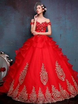 Bright Off the Shoulder Appliques Beading Lace-up Ball Gown Quinceanera Dress & Ball Gown Dresses on sale