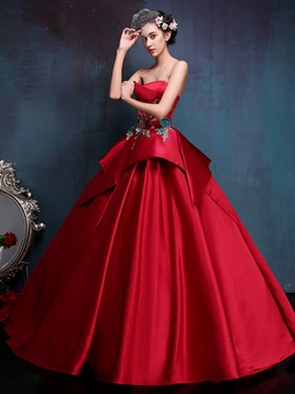 Strapless Embroidery Appliques Tiered Ball Gown Dress