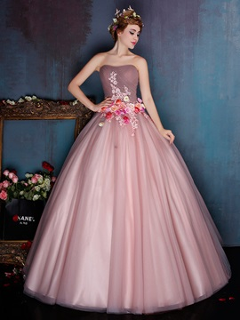 Vintage Strapless Ruched Appliuqes Flowers Floor-Length Ball Gown Dress & Ball Gown Dresses under 500