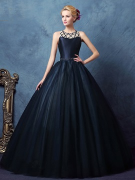 Vintage Straps Beading Hollow Ball Gown Dress & formal Ball Gown Dresses