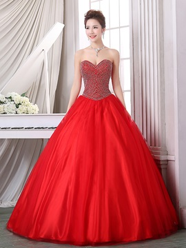 Fancy Sweetheart Beading Ball Gown Red Quinceanera Dress & cheap Ball Gown Dresses