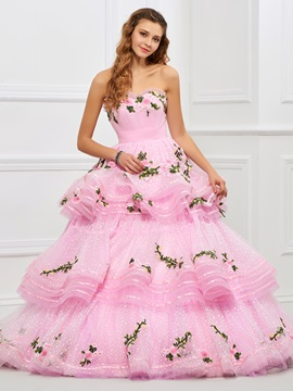 Lovely Sweetheart Ball Gown Appliques Tiered Floor-Length Quinceanera Dress & modest Ball Gown Dresses