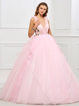 Sweet V-Neck Ball Gown Appliques Flowers Ruffles Floor-Length Quinceanera Dress & modest Ball Gown Dresses