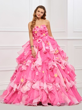 Cascading Ruffles Flowers Strapless Quinceanera Dress