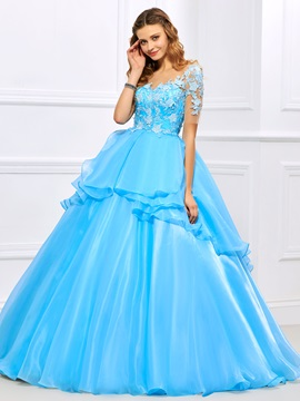 Exquisite Jewel Ball Gown Short Sleeves Appliques Floor-Length Quinceanera Dress & fairytale Ball Gown Dresses