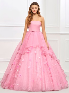 Strapless Ball Gown Sashes Flowers Quinceanera Dress