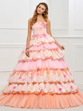 Unique Strapless Ball Gown Appliques Lace Tiered Quinceanera Dress & unusual Ball Gown Dresses