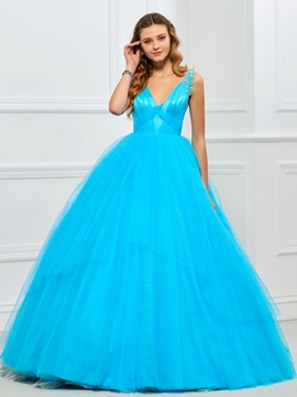 Appliques Pleats V-Neck Quinceanera Dress
