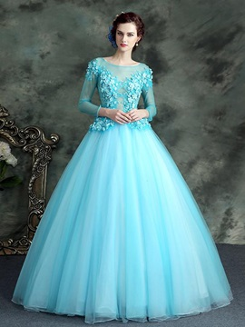 Dramatic Bateau Ball Gown Long Sleeves Beading Lace Floor-Length Quinceanera Dress & affordable Ball Gown Dresses