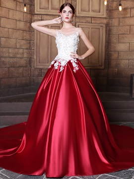Charming Sequins Scoop Ball Gown Appliques Court Train Quinceanera Dress & Ball Gown Dresses from china
