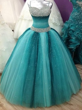 Gorgeous Ball Gown Spaghetti Straps Beading Floor-Length Quinceanera Dress & fashion Ball Gown Dresses