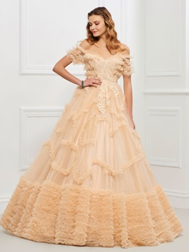 Nice Off-the-Shoulder Ball Gown Appliques Tiered Floor-Length Quinceanera Dress & vintage style Ball Gown Dresses