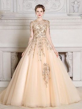 Gorgeous Jewel Ball Gown Long Sleeves Appliques Beading Pearls Quinceanera Dress & attractive Ball Gown Dresses