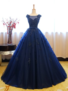 Elegant Bateau Ball Gown Cap Sleeves Appliques Beaded Lace Sequins Quinceanera Dress & fairy Ball Gown Dresses