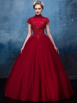 Vintage High Neck Appliques Beading Sequins Floor-Length Quinceanera Dress & simple Ball Gown Dresses