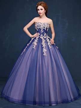 Vintage Ball Gown Sweetheart Appliques Beaded Floor-Length Quinceanera Dress & Ball Gown Dresses online