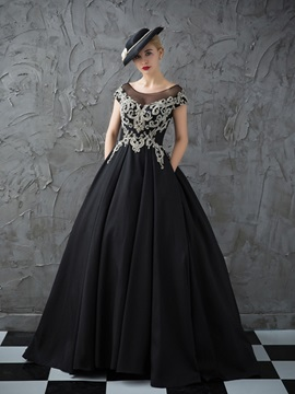 Hot Scoop Ball Gown Cap Sleeves Beading Crystal Quinceanera Dress & modern Ball Gown Dresses