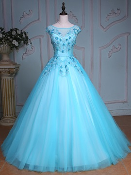 Pretty Bateau Ball Gown Cap Sleeves Appliques Beading Crystal Sequins Court Train Quinceanera Dress & Ball Gown Dresses on sale