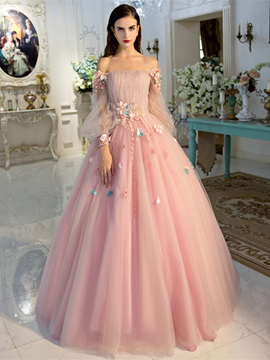 Pretty Off-the-Shoulder Ball Gown Long Sleeves Beading Pleats Quinceanera Dress & casual Ball Gown Dresses