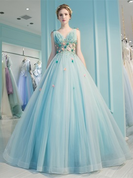 Attractive V-Neck Pleats Beading Ball Gown Court Train Quinceanera Dress & Ball Gown Dresses 2012