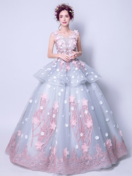 Charming Scoop Appliques Flowers Ball Gown Sashes Pearls Floor-Length Quinceanera Dress & Ball Gown Dresses from china