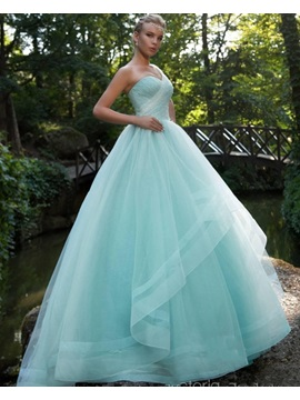 Gorgeous One-Shoulder Ball Gown Beaded Pleats Brush Train Prom Dress & fashion Ball Gown Dresses