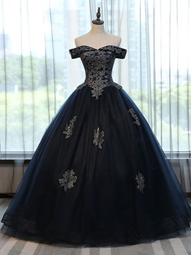 Attractive Ball Gown Off-the-Shoulder Appliques Lace-Up Quinceanera Dress & Ball Gown Dresses 2012