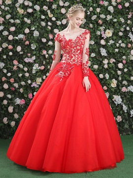 Gorgeous Long Sleeves Appliques Beading Ball Gown Scoop Quinceanera Dress & attractive Ball Gown Dresses