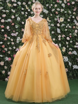 Ball Gown Appliques Beading V-Neck Quinceanera Dress & Ball Gown Dresses under 500