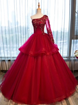 Beading One-Shoulder Appliques Flowers Quinceanera Dress