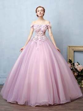 Appliques Off-the-Shoulder Flowers Quinceanera Dress