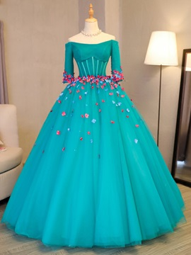 Fancy Flowers Off-the-Shoulder Long Sleeves Quinceanera Dress & discount Ball Gown Dresses