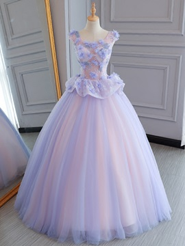 Pearls Beading Flowers Lace Cap Sleeves Quinceanera Dress & fairy Ball Gown Dresses