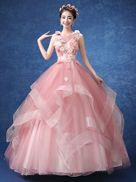 Flowers Beaded Pick-Ups Quinceanera Dress & simple Ball Gown Dresses