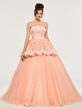 Strapless Lace Flowers Quinceanera Dress & Ball Gown Dresses online
