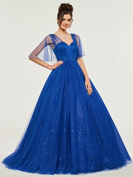 Half Sleeves Floor-Length Sweetheart Ball Gown Dress