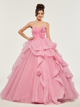 Sweetheart Appliques Ruffles Quinceanera Dress