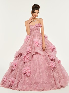 Ball Gown Flowers Lace Quinceanera Dress