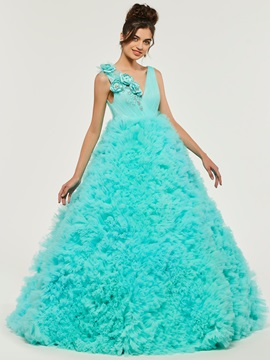 Cascading Ruffles Flowers Quinceanera Dress & fashion Ball Gown Dresses