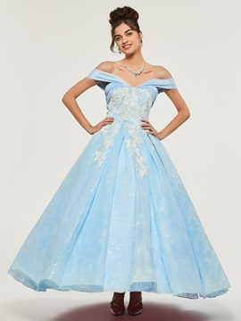 Off-the-Shoulder Ankle-Length Quinceanera Dress & quality Ball Gown Dresses