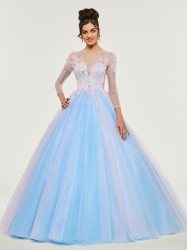 Appliques Beading Lace Jewel Quinceanera Dress