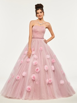 Beading Sweetheart Appliques Flowers Quinceanera Dress & Ball Gown Dresses 2012